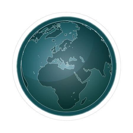 meridiano: Globo, icono, símbolobotón Vectores