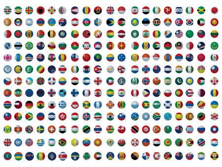 bandiera inghilterra: Icone con tutte le bandiere del mondo set isolata on white