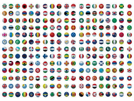 Icons with all the flags of the world set isolated on white Illustration