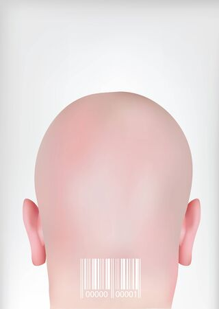 encode: Head with bar codes