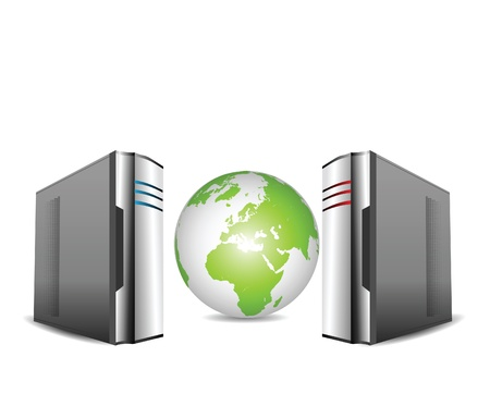 network server: Computer Servers Isolated on White  with earth globe