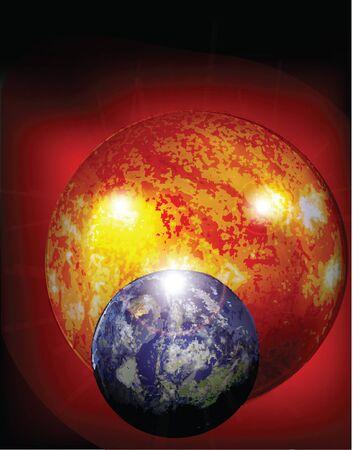 contrastive: sun and earth