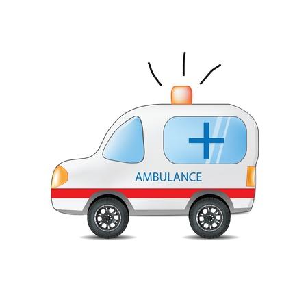 ambulancia: Ambulancia divertido de la historieta Vectores