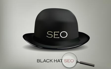 Search Engine Optimization for web SEO Black Hat  Illustration