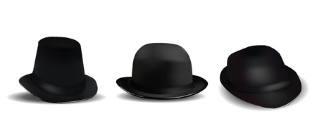 Black Hats Isolated on White  Vector