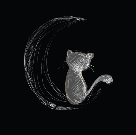 cat tail: Cat on Moon Hand Drawn Sketch