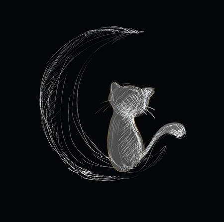 cartoon poes: Cat on Moon Hand getrokken schets