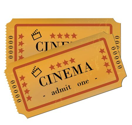 Cinema Tickets Isolated on White  Vector