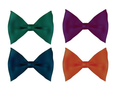 Collection of four realistic tie bows  Vector