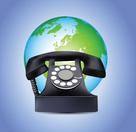 Old Telephone and Earth Globe  Vector