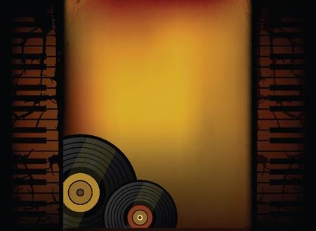 Piano Music Retro Background with Vinyl  Vector