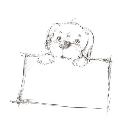 puppy cartoon: Sketch of a dog holding banner  Illustration