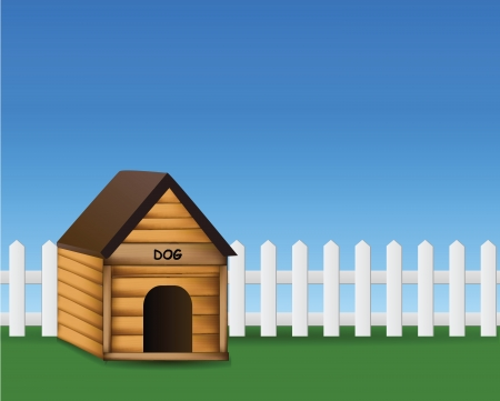 hound dog: Dog house in the garden