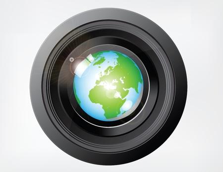 dslr: Reflecting Globe on Camera Lens