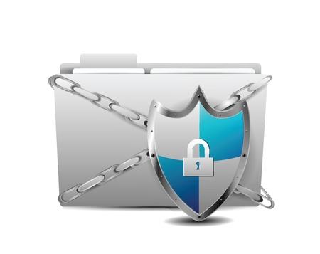 computer hacker: Scudo con la Protezione cartelle su sfondo bianco