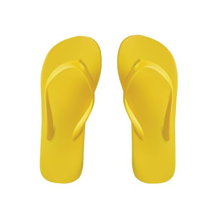 Yellow Pair of Flip Flops Isolated On White  Vector