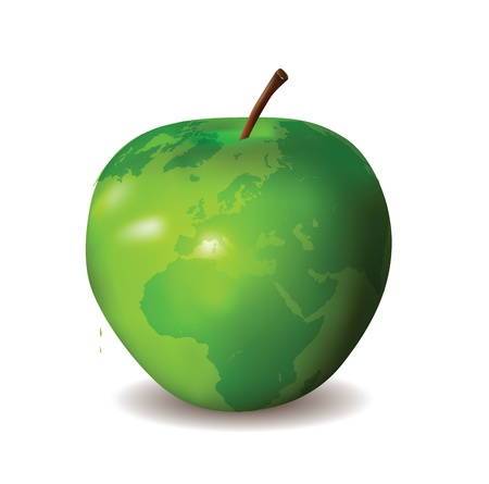 Green Apple with World Map  Çizim