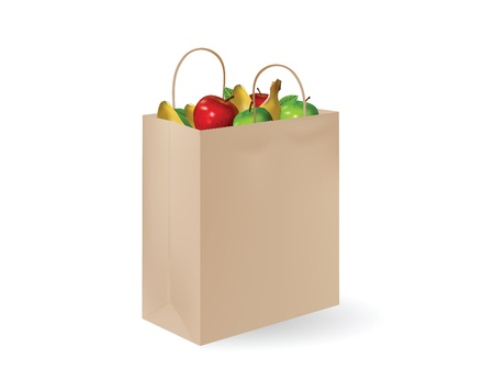 grochery bag with fruits