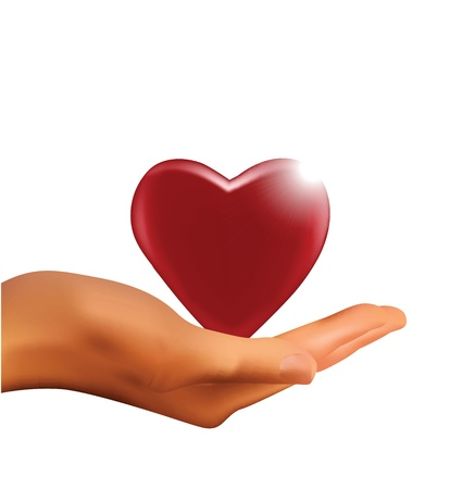 hands holding heart: Hand Holding Heart
