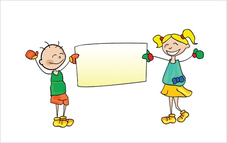 Kids Holding Cartoon  Vector