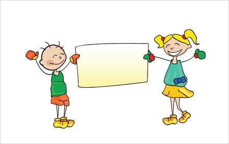 holding notes: Kids Holding Cartoon