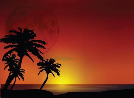 Sunset Landscape Stock Vector - 12437758