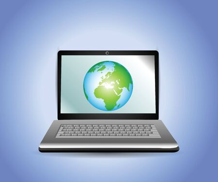 Laptop with Earth Globe  Stock Vector - 12437261