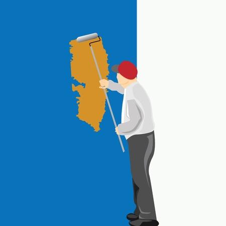 hombre pintando: Hombre pintando una pared azul Ilustración