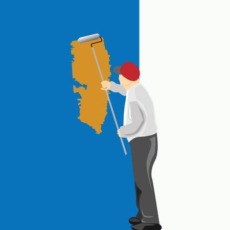 man painting: Man Painting a Blue Wall  Illustration  Illustration