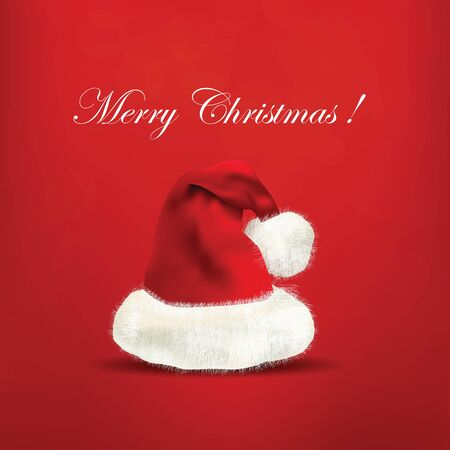 moroz: Beautiful Santa Claus hat on red background