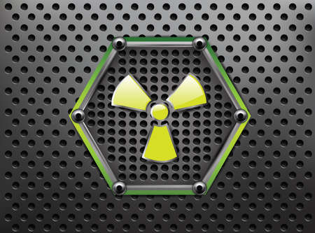 radioactive: Metallic Background with Danger Sign  Illustration