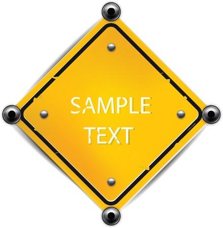 señal de transito: Signo Amarillo metálico aislado en blanco con el texto de muestra