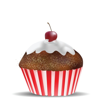 Muffin Isolated on White  Vector