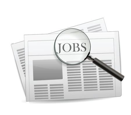 Newspaper Jobs Isolated on White  Çizim