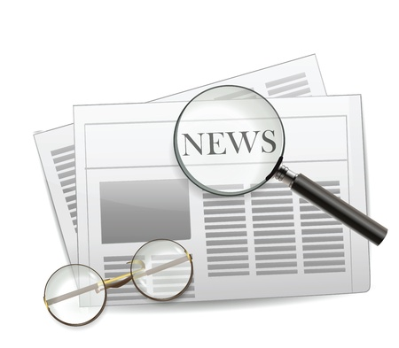 Newspaper with magnifying glass  Çizim