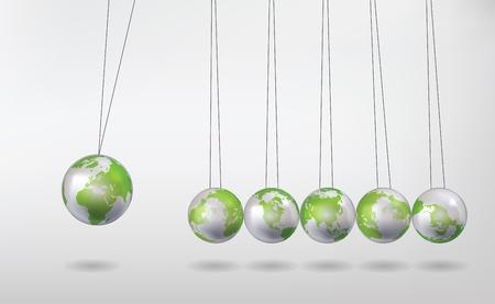 la cuna de Newton con globos de tierra