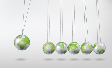 newtons cradle with earth globes