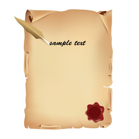 Old Parchment with Wax Seal and Feather  Vector