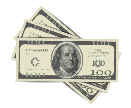 hundred dollar bill: 100 Dollars Isolated on white