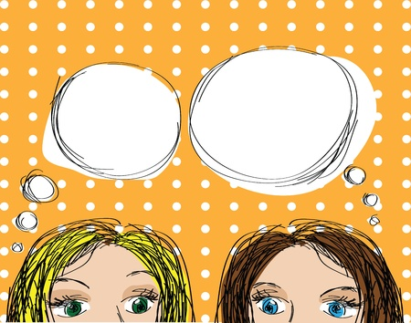 Two Girls Pop-Up Style  Vector