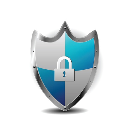 Protection Blue Shield with locker  Stock Vector - 12436973