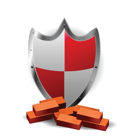 Protection Red Shield with bricks Stock Vector - 12437179