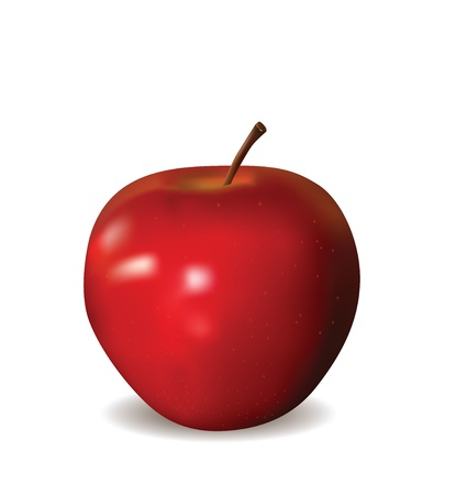 apple isolated: Red Apple Isolated on White  Illustration