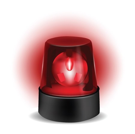 Red Flashlight isolated on white  Vector