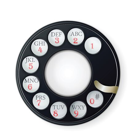 antique phone: Rotary Phone Dial isolated on white  Illustration
