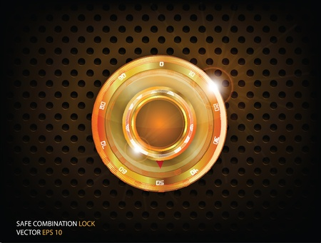 Safe Gold Combination Lock  Vector