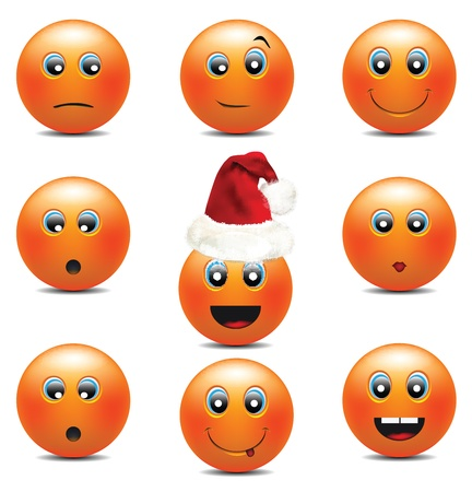 Orange Smiley Faces  Vector