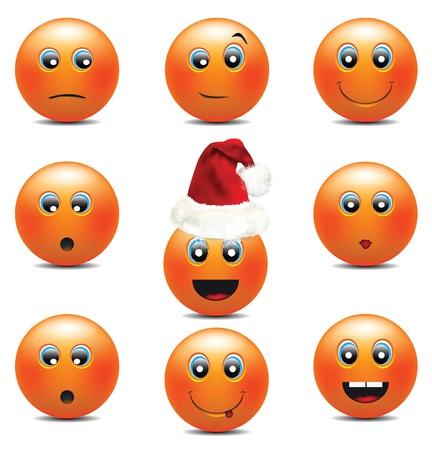 Orange Smiley Faces Stock Vector - 12437977