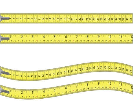 tape line: Tape measure  isolated on white