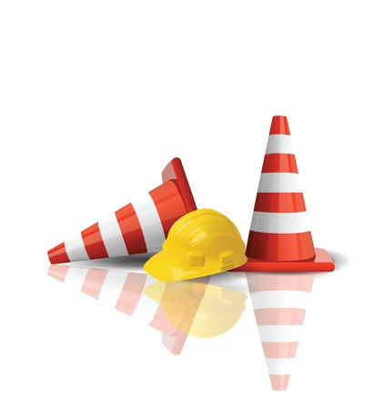 construct site: Hard cap with traffic cones isolated